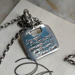 Sterling Silver Gandhi Quote Necklace